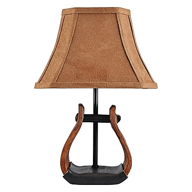 AHS Lighting Stirrup Accent Lamp With Faux Suede Shade