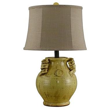 AHS Lighting Gruyere Ceramic Urn Table Lamp With Taupe Slub Linen Shade, Yellow