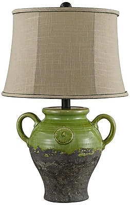AHS Lighting Lyon Ceramic Table Lamp With Taupe Slub Linen Shade, Green