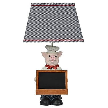 AHS Lighting Chef Oink Pig Figure Table Lamp With Tablet Shelf