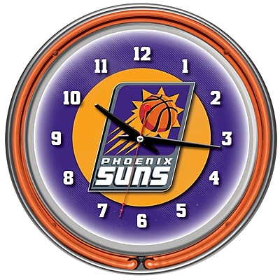Trademark Global® Chrome Double Ring Analog Neon Wall Clock, Phoenix Suns NBA