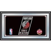 "Trademark Global® 15"" x 27"" Black Wood Framed Mirror, Portland Trail Blazers NBA"