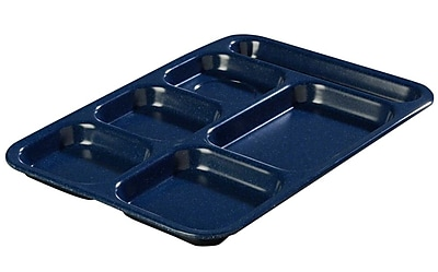 Carlisle 4398250, Right Hand 6-Compartment Melamine Tray, Dark Blue