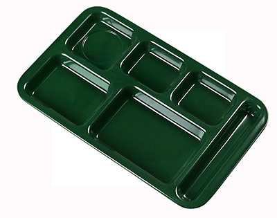 Carlisle 4398208, Right Hand 6-Compartment Melamine Tray, Forest Green