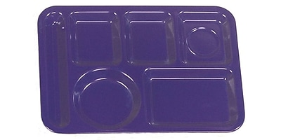 Carlisle 4398050 Melamine 6-Compartment Trays, Dark Blue