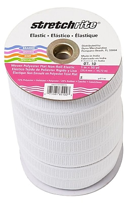 """""Non-Roll Ribbed Elastic 3/4"""""""" Wide 45 Yards-White"""""" 459660"
