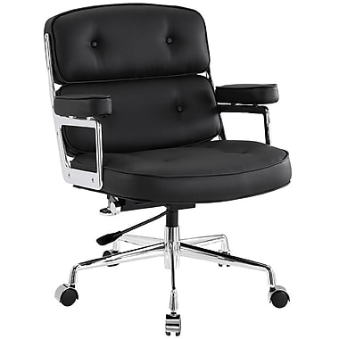 Modway Remix Leather Executive Office Chair, Fixed Arms, Black (848387005849)