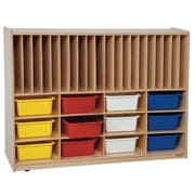 Wood Designs™ Tip-Me-Not™ Portfolio Storage With 12 Assorted Trays, Natural Wood
