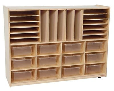 Wood Designs™ Multi-Sectioned Storage Center With 12 Translucent Rectangular Trays, Birch