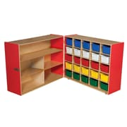 """Wood Designs™ 36""""H Tray and Shelf Fold Storages With 25 Assorted Trays"""