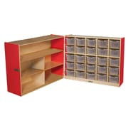 """Wood Designs™ 36""""H Tray and Shelf Fold Storage With 25 Clear Trays, Strawberry Red"""