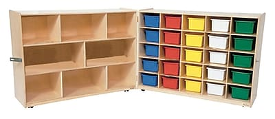 """""Wood Designs 36""""""""H Half and Half Tray Folding Storage With 25 Assorted Trays, Strawberry Red"""""" 509359"