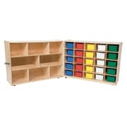 """Wood Designs™ 36""""H Half and Half Tray Folding Storage With 25 Assorted Trays, Strawberry Red"""