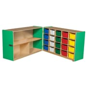 """Wood Designs™ 30""""H Half and Half Storage Unit With 20 Assorted Trays, Green Apple"""