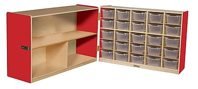 """""Wood Designs 30""""""""H Half and Half Storage Unit With 20 Translucent Trays, Strawberry"""""" 509461"