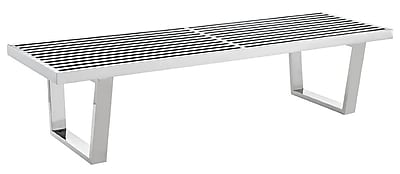 Modway Sauna 5' Stainless Steel Bench, Silver