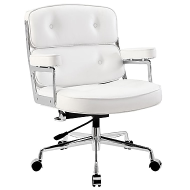 Modway Remix Leather Executive Office Chair, Fixed Arms, White (848387005870)