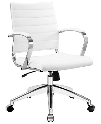 Modway Jive Ribbed Vinyl Mid Back Executive Office Chair, White