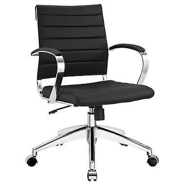Modway Jive Ribbed Vinyl Mid Back Executive Office Chair, Black