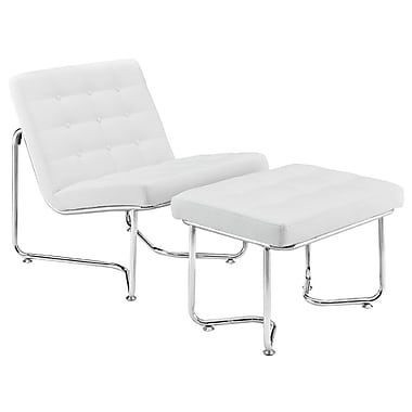Modway Gibraltar Padded Vinyl Lounge Chair With Ottoman, White