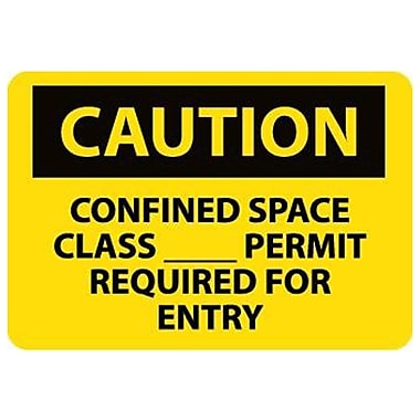 Caution, Confined Space Class__Permit Required For Entry, 10X14, Adhesive Vinyl