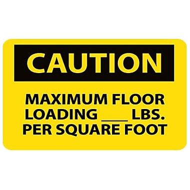 Caution, Maximum Floor Loading__Lbs. Per Square Foot, 10X14, Adhesive Vinyl