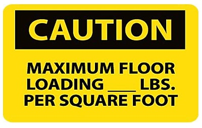 Caution, Maximum Floor Loading__Lbs. Per Square Foot, 10X14, Adhesive Vinyl