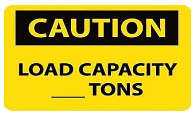 Caution, Load Capacity__Tons, 10X14, Adhesive Vinyl