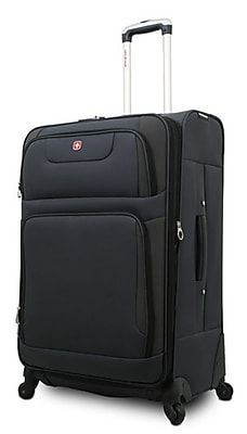 "SwissGear® 24"" Spinner Upright Luggage Suitcase, Gray With Black Accent"