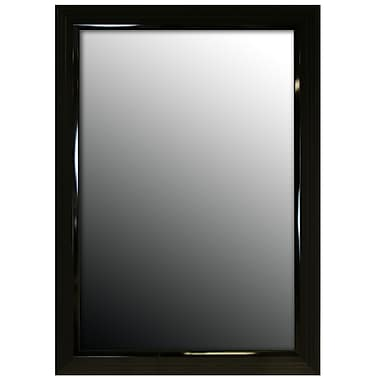 Second Look Mirrors Glossy Black Stepped Petite Wall Mirror; 60'' H x 24'' W