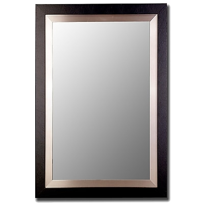 Hitchcock Butterfield Company Satin Black and Brushed Nickel Silver Wide Flat Wall Mirror