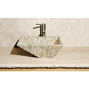 Allstone Group Irregular Rectangular Vessel Bathroom Sink; San Cecilia Granite / High Sheen Polish