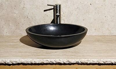Allstone Group Stone Oval Vessel Bathroom Sink; Black Granite