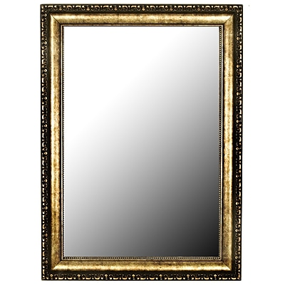 Hitchcock Butterfield Company Roman Beaded Silver Gold Wall Mirror; 46.25''H x 36.25''W x 2''D