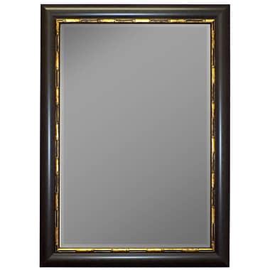 Second Look Mirrors Panda Mahogany Gold Bamboo Trim Wall Mirror; 46'' H x 36'' W