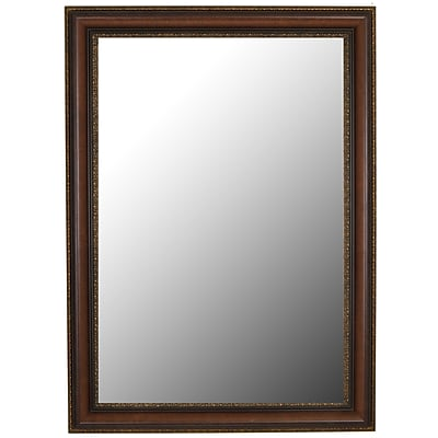 Second Look Mirrors Polynesian Coco Brown Gold Trim Wall Mirror; 35.5''H x 17.5''W x 1.5''D