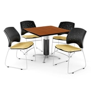 "OFM™ 36"" Square Cherry Laminate Multi-Purpose Table With 4 Chairs, Golden Flax"