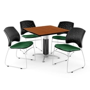 "OFM™ 42"" Square Cherry Laminate Multi-Purpose Table With 4 Chairs, Forest Green"