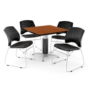 "OFM™ 42"" Square Cherry Laminate Multi-Purpose Table With 4 Chairs, Black"