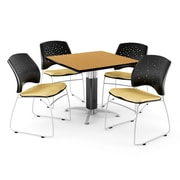 "OFM™ 36"" Square Oak Laminate Multi-Purpose Table With 4 Chairs, Golden Flax"