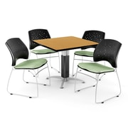 "OFM™ 36"" Square Oak Laminate Multi-Purpose Table With 4 Chairs, Sage Green"