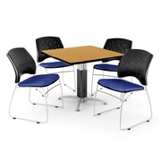 "OFM™ 36"" Square Oak Laminate Multi-Purpose Table With 4 Chairs, Royal Blue"