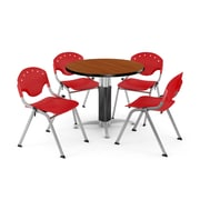 """OFM™ 42"""" Round Cherry Laminate Multi-Purpose Table With 4 Rico Chairs, Red"""