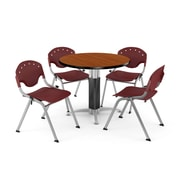 "OFM™ 42"" Round Cherry Laminate Multi-Purpose Table With 4 Rico Chairs, Burgundy"