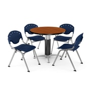 "OFM™ 42"" Round Cherry Laminate Multi-Purpose Table With 4 Rico Chairs, Navy"