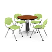 "OFM™ 42"" Round Cherry Laminate Multi-Purpose Table With 4 Rico Chairs, Lime Green"