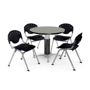 """OFM™ 42"""" Round Gray Nebula Laminate Multi-Purpose Table With 4 Rico Chairs, Red"""