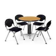"OFM™ 36"" Round Oak Laminate Multi-Purpose Table With 4 Rico Chairs, Black"