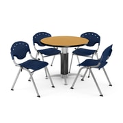 "OFM™ 36"" Round Oak Laminate Multi-Purpose Table With 4 Rico Chairs, Navy"
