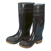 "Mutual Industries 16"" PVC Sock Boots With Steel Toe, Black, Size 8"
